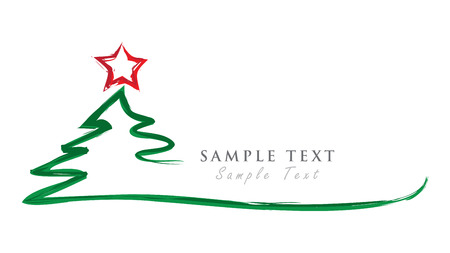 Merry Christmas Background and Christmas Tree. Vektorové ilustrace