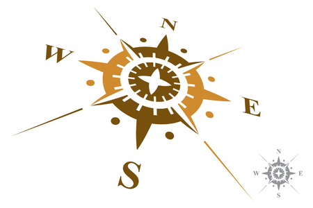 latitude: Compass isolated on white background Illustration