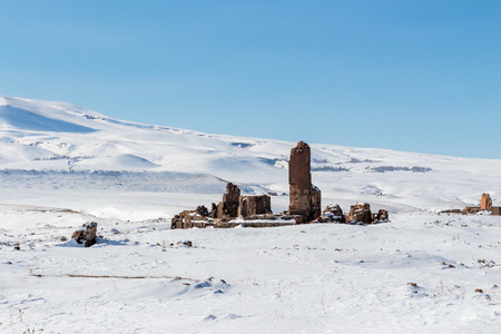 Historical Ani Ruins and Winter Landscapes, Kars, Turkey ,February 2017