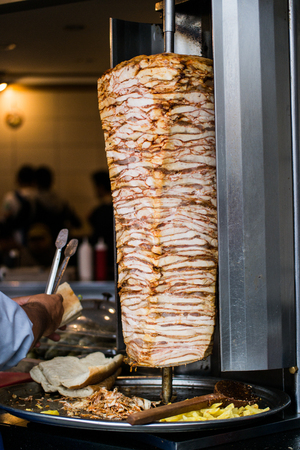 Turkish Fast Food Skewered Chicken doner kebab. traditional food