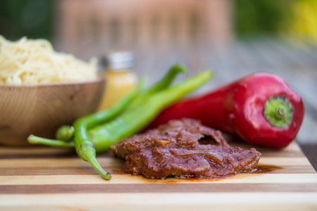 grill: Steak with tomato sauce, sphagetti and vegetables. Stock Photo