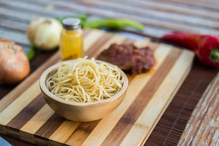 Spaghetti with beef and vegetables