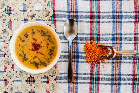 Lentil soup  Turkish mercimek corbasi.