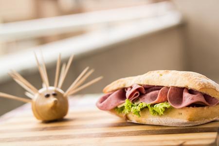 Ham sandwich with fried potatoes