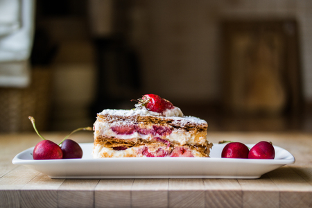 strawberry puff mille-feuille with cherry