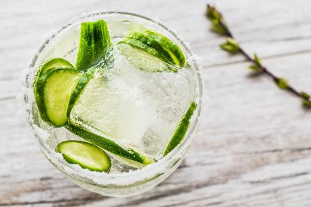 진 토닉 칵테일 오이 슬라이스와 얼음. 음료 개념입니다.