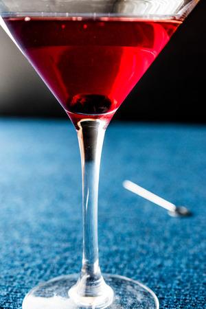 Manhattan Cocktail with a cherry garnish. Beverage Concept.