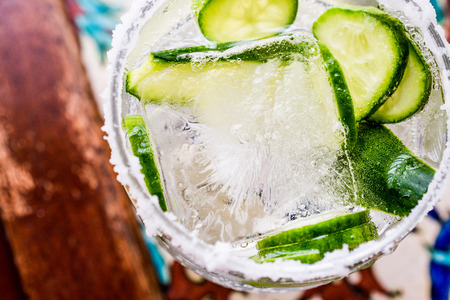Gin Tonic Cocktail with cucumber slices and ice. Beverage concept. Stock fotó