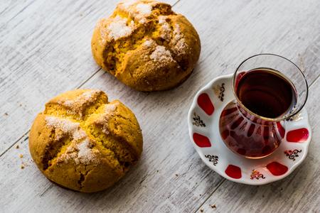 Turkish cookies Sam kurabiyesi and tea  Cookie with orange and sugar. Traditioal Cookies