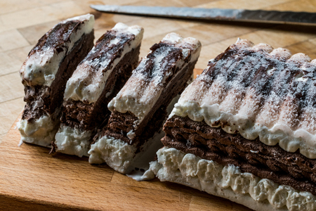 Semifreddo Cake - ice cream with chocolate and vanilla. (semi-frozen dessert) italian dessert.