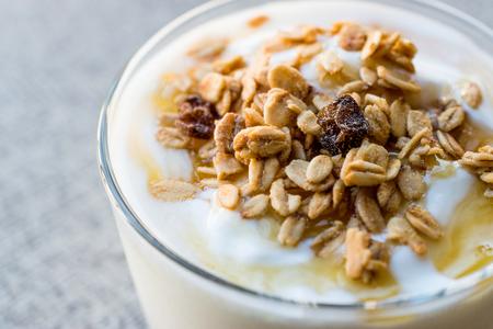 Greek Yogurt with Honey and Granola. Organic Food.