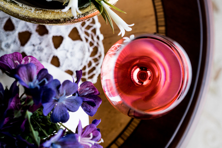 Rose Wine with flowers (natural light). Beverage Concept. Stock fotó