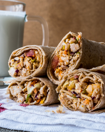 Chicken shawarma durum kebab with ayran or buttermilk  Tantuni. fast food