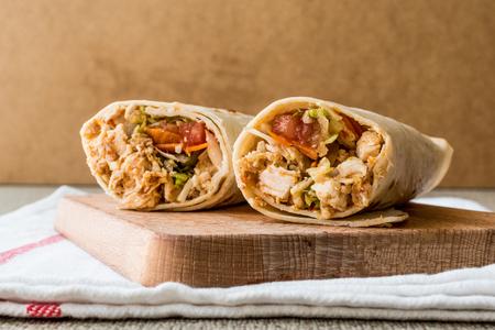 Chicken shawarma durum doner kebab copy space. Fast food concept. Archivio Fotografico