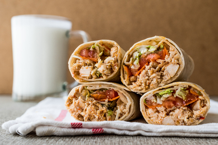Chicken shawarma doner kebab with ayran or buttermilk. Fast food concept.