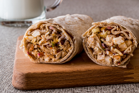 Chicken shawarma durum kebab with ayran or buttermilk / Tantuni. fast food Stock Photo