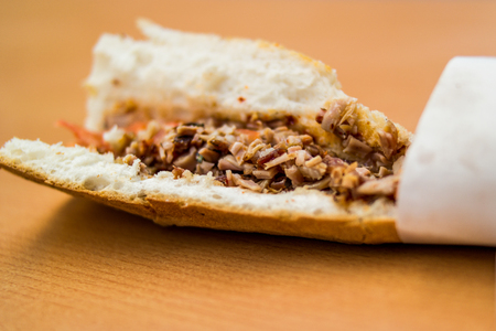 Turkish Street Food Kokorec Sandwich made with sheep bowel. fast food Stock Photo