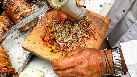 Turkish Street Food Kokorec made with sheep bowel. Traditional fast food.