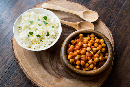Chana Masala Chickpeas served with rice. Traditional Food.