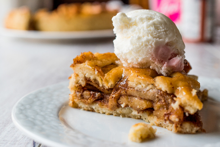 Apple Pie with Vanilla ice cream. Dessert Concept. Stok Fotoğraf