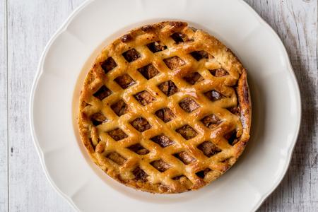 Homemade Organic Apple Pie Dessert. Fresh Dessert Concept.