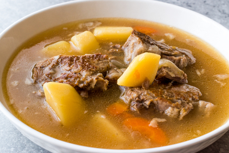 Turkish Kuzu Haslama  Lamb Stew  with Potatoes and Carrot. Traditional Food. Stock Photo
