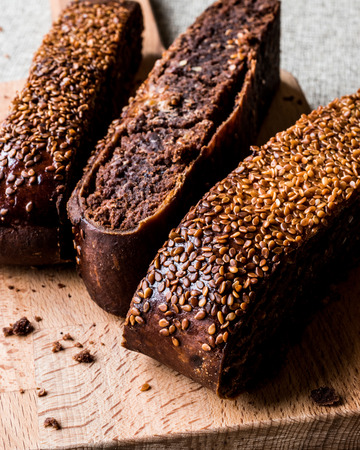 Ay coregi  Turkish Pastry with chocolate, sesame and dried raisin. traditional dessert concept.