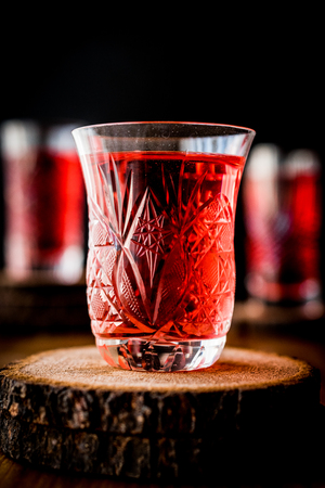 Famous ottoman drink cranberry or rose sherbet in crystal glass Banco de Imagens