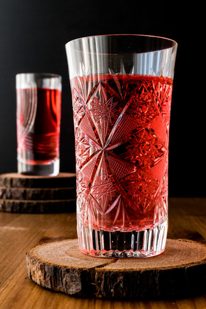 Famous ottoman drink cranberry or rose sherbet in crystal glass Stock Photo