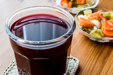 Turkish Turnip Juice with pickles / Salgam Suyu.(homemade beverage)