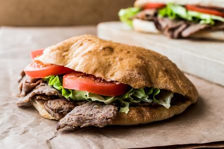 Turksh pide doner Kebab sandwich.