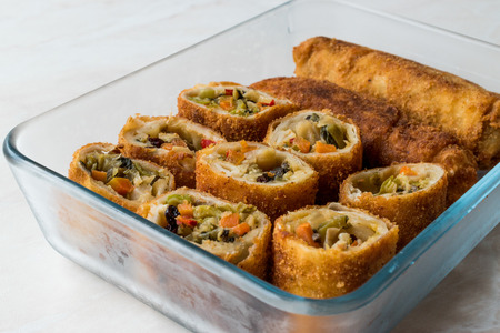 Chinese Vegetable Egg Rolls  Borek with soy (soya) sauce. Traditional Food.