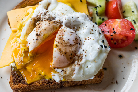 Poached Egg on Toast Bread with Cheddar Cheese, Balsamic Vinegar, Salad and Black Sesame or Cumin Seeds. Organic Food. Banque d'images