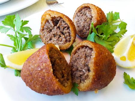 icli kofte  Boiled kibbeh  Quibe  Stuffed Meatballs Falafel. Traditional Food.