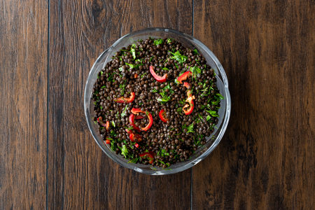 Black Lentil Salad with Red Peppers and Parsley. Organic Food. Stok Fotoğraf