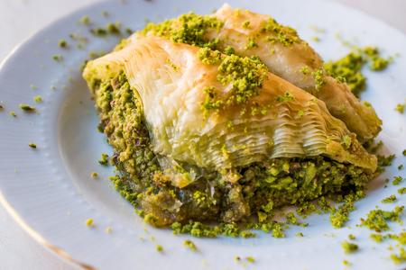 Turkish Dessert Sobiyet Baklava with Pistachio  Fistikli Baklava. Traditional Dessert.
