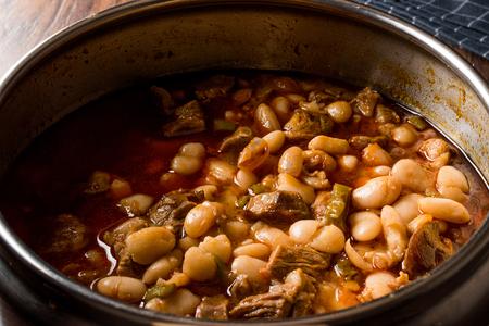 Turkish Baked Beans with Meat  Etli Kuru Fasulye. Traditional Food. Stock Photo