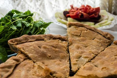 Handmade Turkish Borek with Spinach at home Stock Photo