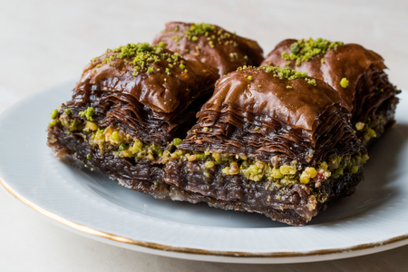 Turkish Dessert Chocolate Baklava with Pistachio. Traditional Dessert.