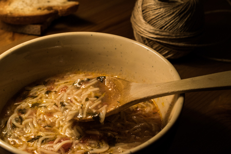 Turkish Traditional Vermicelli Soup / Tel sehriye corbasi. (Dim Light)