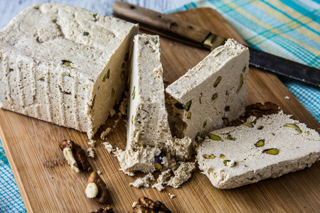 Halva is slightly gelatinous and made from grain flour, typically semolina