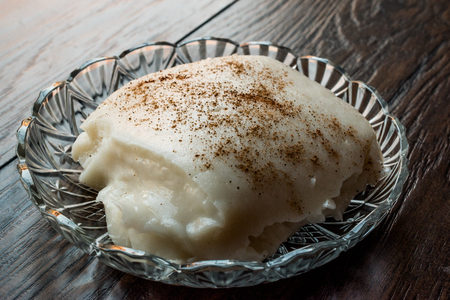 Turkish Dessert Tavuk Gogsu  Chicken Breast Milk Pudding. Traditional Dessert.