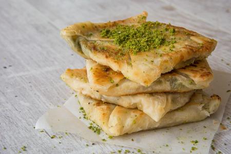 Traditional Gaziantep Dessert Katmer with Pistachio Powder. Stock Photo
