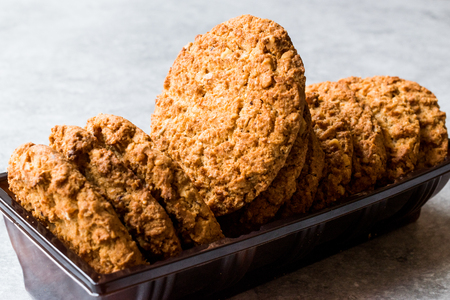 Oatmeal Cookies made with sesame, fig, cinnamon, peanut and sunflower seeds. Organic Food.