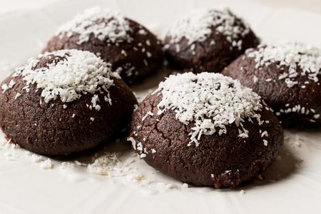 Mini Chocolate Brownie Wet Cookies with Coconut Powder  Turkish Islak Kurabiye. Traditional Food.