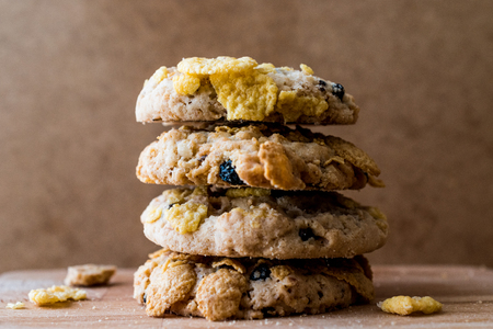 Stack of Cornflake Cookies on wooden surface. Bakery Concept. 写真素材