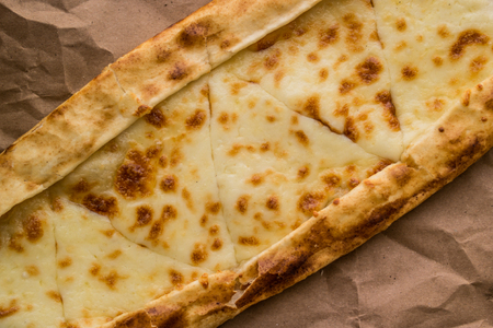 Tukish pide with cheese / Kasarli pide. Stock Photo