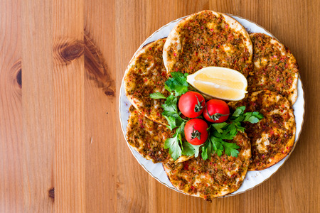 Turkish Food Findik Lahmacun  Mini Pizza. Traditional Food.