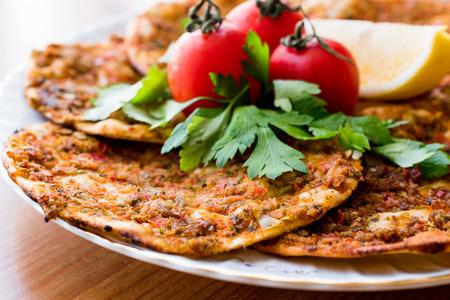 Turkish Food Findik Lahmacun  Mini Pizza. Traditional Food.