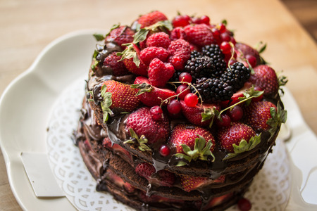 Strawberry cake with blackberry, mulberry and dark chocolate